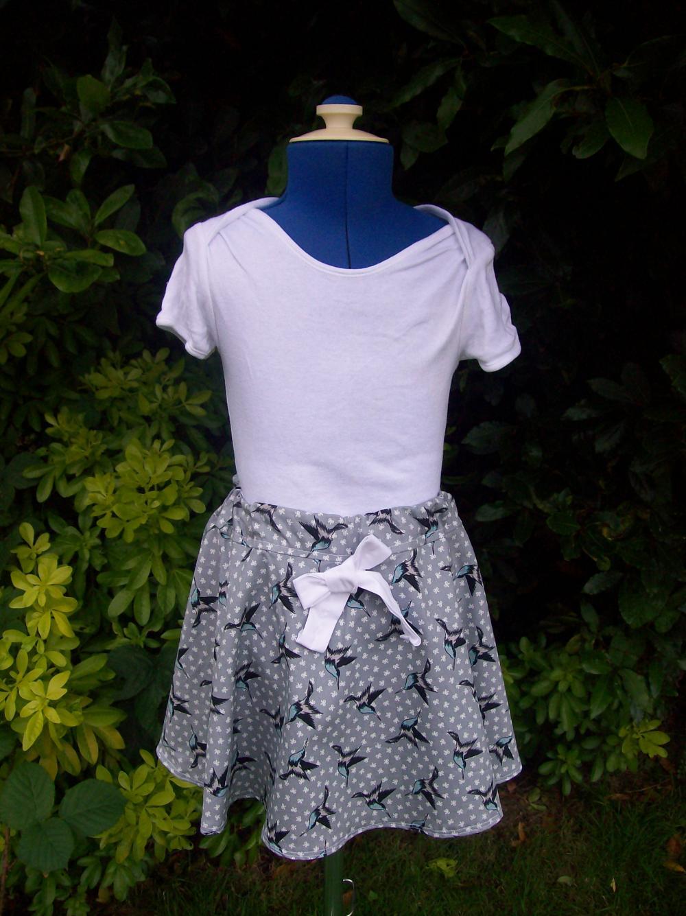 Girls swallow print twirly full skirt