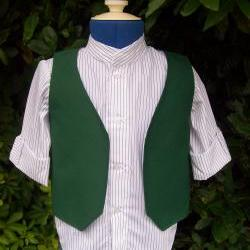 Boys white and green waistcoat and shirt set